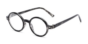 Angle of The Bookworm in Marbled Black, Women's and Men's Round Reading Glasses