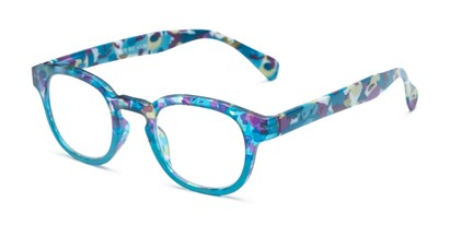 Angle of The Bouquet in Blue Floral Multi, Women's Round Reading Glasses