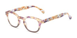 Angle of The Bouquet in Orange Floral Multi, Women's Round Reading Glasses