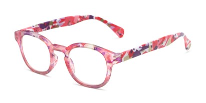 Angle of The Bouquet in Pink Floral Multi, Women's Round Reading Glasses