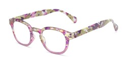Angle of The Bouquet in Purple Floral Multi, Women's Round Reading Glasses