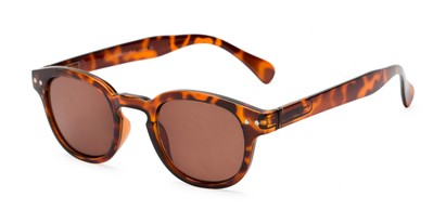 Angle of The Bourbon Reading Sunglasses in Tortoise with Amber, Women's and Men's Retro Square Reading Sunglasses
