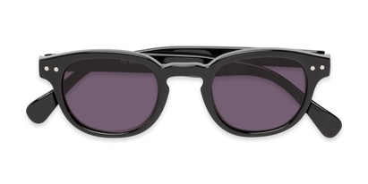 Folded of The Bourbon Reading Sunglasses in Black with Smoke