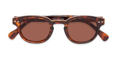 Folded of The Bourbon Reading Sunglasses in Tortoise with Amber