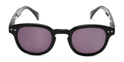 Front of The Bourbon Reading Sunglasses in Black with Smoke
