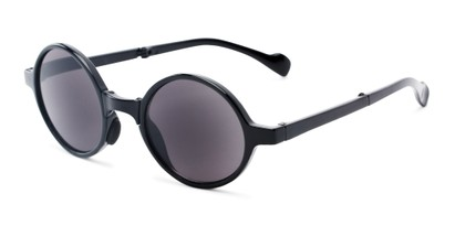 Angle of The Brayton Folding Reading Sunglasses in Black with Smoke, Women's and Men's Round Reading Sunglasses