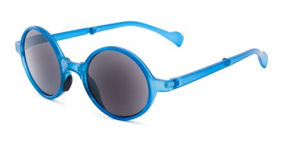 Angle of The Brayton Folding Reading Sunglasses in Blue with Smoke, Women's and Men's Round Reading Sunglasses