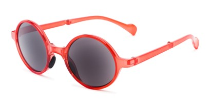 Angle of The Brayton Folding Reading Sunglasses in Red with Smoke, Women's and Men's Round Reading Sunglasses