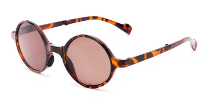 Angle of The Brayton Folding Reading Sunglasses in Tortoise with Amber, Women's and Men's Round Reading Sunglasses