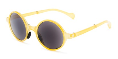 Angle of The Brayton Folding Reading Sunglasses in Yellow with Smoke, Women's and Men's Round Reading Sunglasses