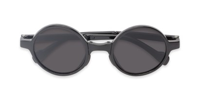 Folded of The Brayton Folding Reading Sunglasses in Black with Smoke