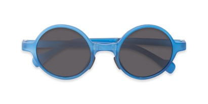 Folded of The Brayton Folding Reading Sunglasses in Blue with Smoke