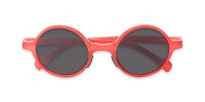 Folded of The Brayton Folding Reading Sunglasses in Red with Smoke