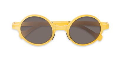 Folded of The Brayton Folding Reading Sunglasses in Yellow with Smoke