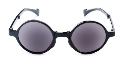 Front of The Brayton Folding Reading Sunglasses in Black with Smoke