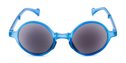 Front of The Brayton Folding Reading Sunglasses in Blue with Smoke