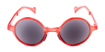 Front of The Brayton Folding Reading Sunglasses in Red with Smoke