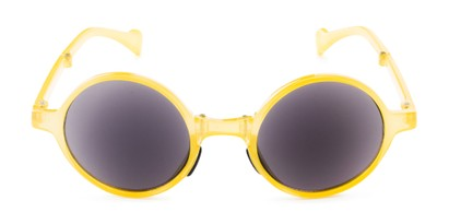 Front of The Brayton Folding Reading Sunglasses in Yellow with Smoke