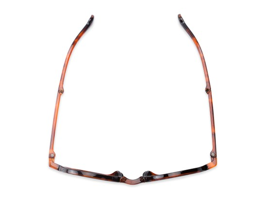 Overhead of The Brayton Folding Reading Sunglasses in Tortoise with Amber