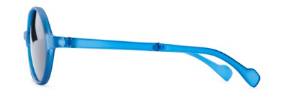 Side of The Brayton Folding Reading Sunglasses in Blue with Smoke