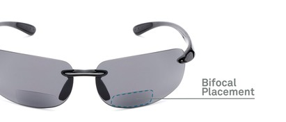 Detail of The Breaker Bifocal Reading Sunglasses in Black with Smoke Lenses