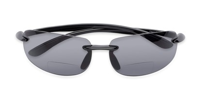 Folded of The Breaker Bifocal Reading Sunglasses in Black with Smoke Lenses