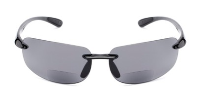Front of The Breaker Bifocal Reading Sunglasses in Black with Smoke Lenses