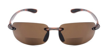 Front of The Breaker Bifocal Reading Sunglasses in Tortoise with Amber Lenses