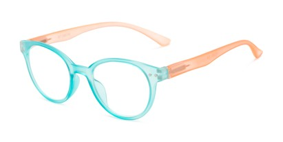 Angle of The Breeze in Aqua Blue/Living Coral, Women's Round Reading Glasses