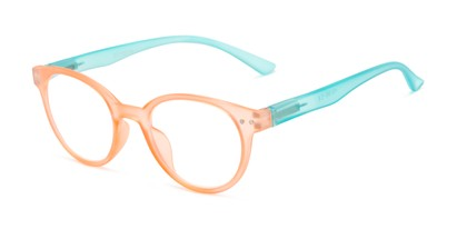 Angle of The Breeze in Living Coral/Aqua Blue, Women's Round Reading Glasses