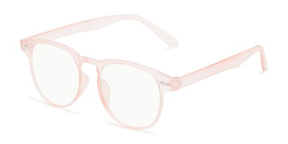 Angle of The Brick Computer Reader in Pink with Light Yellow, Women's and Men's Browline Reading Glasses
