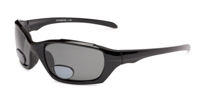 Angle of The Bridgewater Polarized Bifocal Reading Sunglasses in Glossy Black with Smoke, Women's and Men's Sport & Wrap-Around Reading Sunglasses