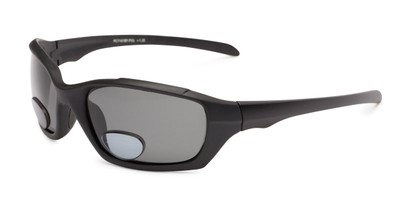 Angle of The Bridgewater Polarized Bifocal Reading Sunglasses in Matte Black with Smoke, Women's and Men's Sport & Wrap-Around Reading Sunglasses