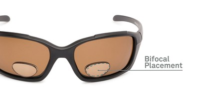 Detail of The Bridgewater Polarized Bifocal Reading Sunglasses in Matte Black with Amber
