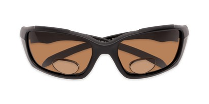 Folded of The Bridgewater Polarized Bifocal Reading Sunglasses in Matte Black with Amber