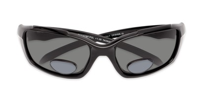 Folded of The Bridgewater Polarized Bifocal Reading Sunglasses in Glossy Black with Smoke