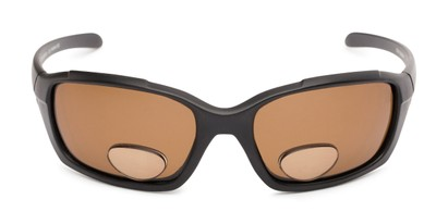 Front of The Bridgewater Polarized Bifocal Reading Sunglasses in Matte Black with Amber
