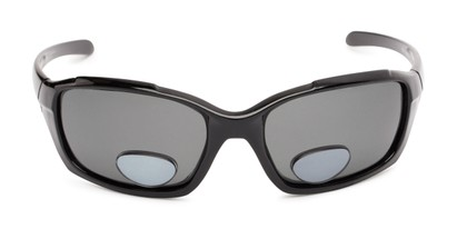 Front of The Bridgewater Polarized Bifocal Reading Sunglasses in Glossy Black with Smoke
