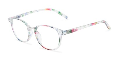 Angle of The Brie in Green/Clear Floral, Women's Round Reading Glasses