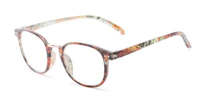 Angle of The Brie in Orange/Black Floral, Women's Round Reading Glasses
