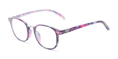 Angle of The Brie in Purple Floral, Women's Round Reading Glasses
