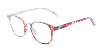 Angle of The Brie in Red Floral, Women's Round Reading Glasses
