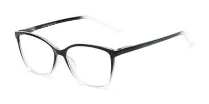 Angle of The Bristol in Clear Fade, Women's Cat Eye Reading Glasses