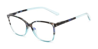 Angle of The Bristol in Light Blue Fade, Women's Cat Eye Reading Glasses