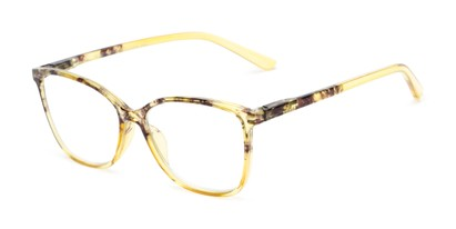 Angle of The Bristol in Yellow Fade, Women's Cat Eye Reading Glasses