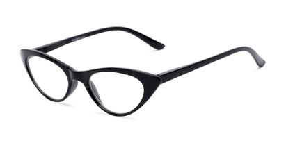 Angle of The Brit in Black, Women's Cat Eye Reading Glasses