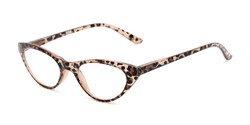 Angle of The Brit in Brown Leopard, Women's Cat Eye Reading Glasses