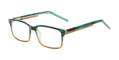 Angle of The Brock - Foster Grant for Readers.com in Brown/Blue Stripe Fade, Men's Rectangle Reading Glasses