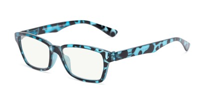Angle of The Brody Computer Reader in Blue Tortoise , Women's and Men's Rectangle Reading Glasses