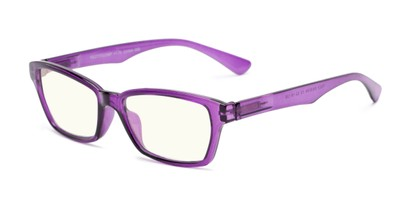 Angle of The Brody Computer Reader in Purple with Light Yellow, Women's and Men's Rectangle Reading Glasses